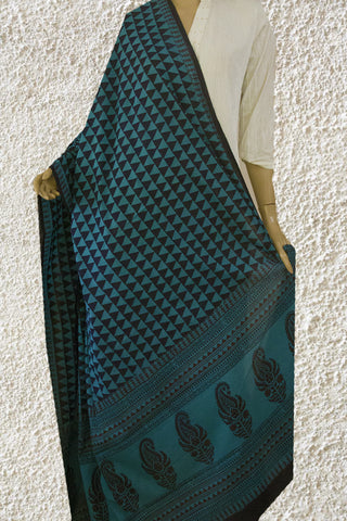 Blue Triangle Bagh Print Cotton Dupatta