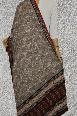 Grey with Intricate Design Block Printed Mul Cotton Dupatta
