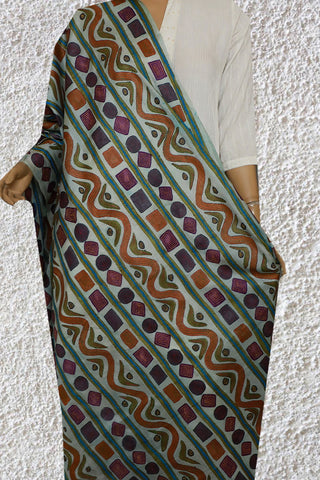 Light Pale Blue Hand Embroidered Kantha Work Silk Dupatta