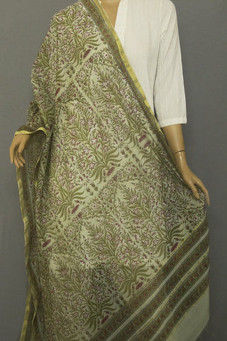 Greyish Green with Pink Intricate Floral Chanderi Dupatta