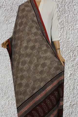 Grey Dabu Print Mul Cotton Dupatta