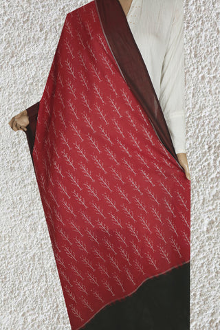 Raspberry with Brown Mercerized Handwoven Ikat Cotton Dupatta