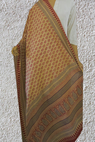 Offwhite with Maoon Bagh Printed Cotton Dupatta