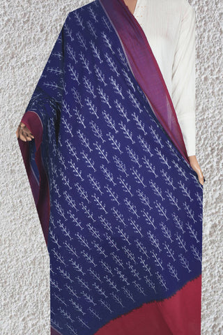 Carbon Blue with Purplish Red  Mercerized Handwoven Ikat Cotton Dupatta
