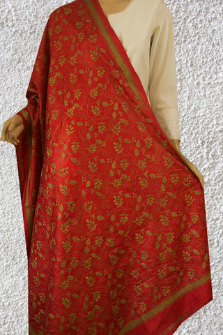 Red with Light Green Floral Kantha Work Tussar Silk Dupatta
