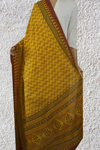 Yellow Zigzag Bagh Print Cotton Dupatta
