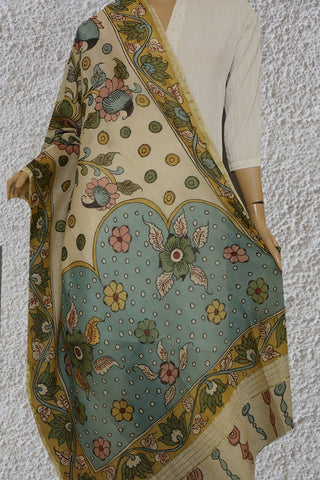 Garden Pond - Painted Kalamkari Silk Cotton Dupatta