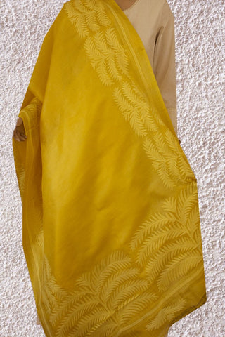 Yellow Kantha Work Tussar Silk Dupatta