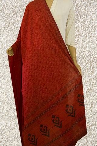 Red Bagh Printed Cotton Dupatta