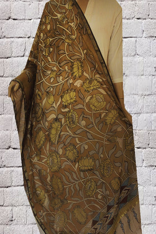 Fenugreek Lotus Hand Painted Kalamkari Chanderi Dupatta