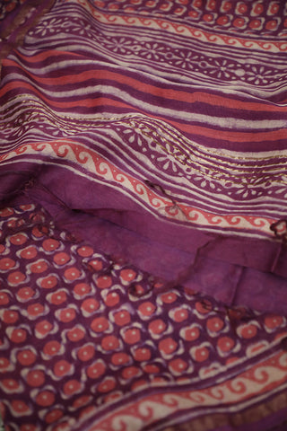Lavender with Off White Dots Block Printed Chanderi Dupatta