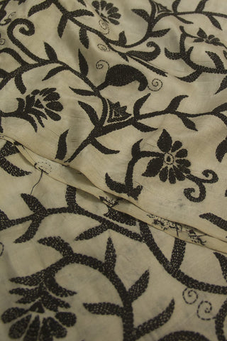 Off-White with Black Floral Kantha Work Silk Tussar Dupatta