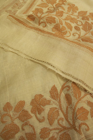 Off White with Brown Floral Border Kantha Work Silk Dupatta