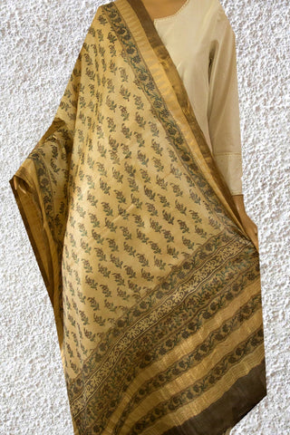 Grey with Small Flowers Block Printed Tussar Silk Dupatta