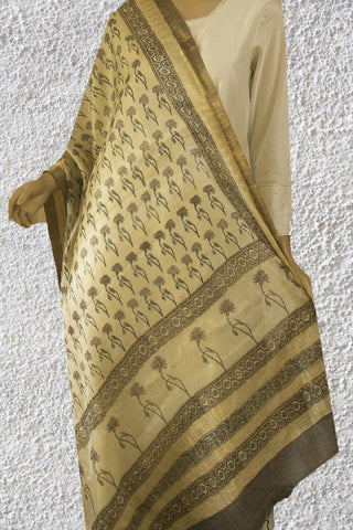 Beige with Grey Flower Tussar Silk Dupatta