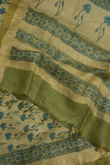 Beige with Greenish Blue Flower Tussar Silk Dupatta