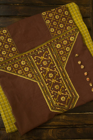 Checkered Handwoven Fabric with Kutch Embroidered Trims