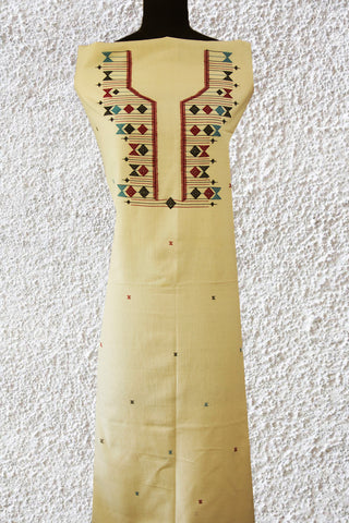 Offwhite with Maroon-Blue Handwoven Kurta Fabric