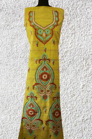 Double Shade Greenish Yellow Kantha Cotton Kurta Fabric