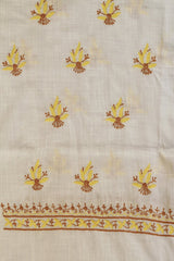 Brown with Yellow Floral Chikankari work Kurta Fabric
