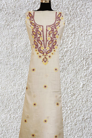 Dark Purple Leaf Design Chikankari Work Kurta Fabric
