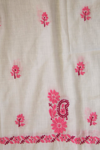 Offwhite with Pink Chikan Work Kurta Fabric