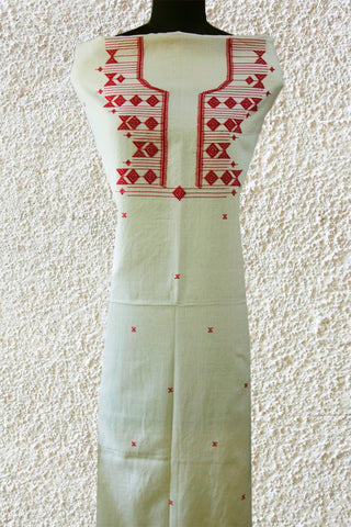 Off white with Maroon Diamond Handwoven Kurta Fabric