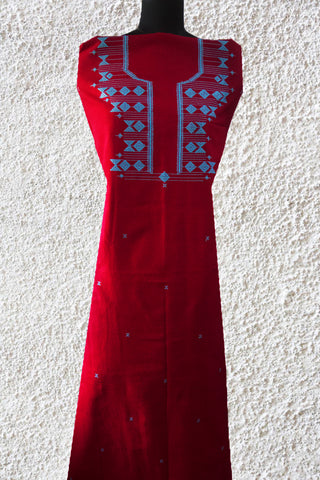 Reddish Pink with Blue Handwoven Kurta Fabric