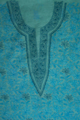 Light blue Shadow Chikankari work Kurta Fabric