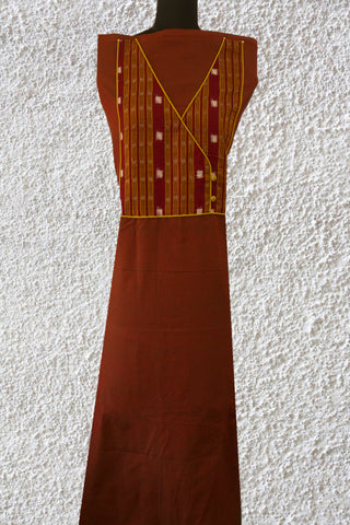 Double Shaded Brown Yarn Dyed Cotton Fabric with Ikat Yoke
