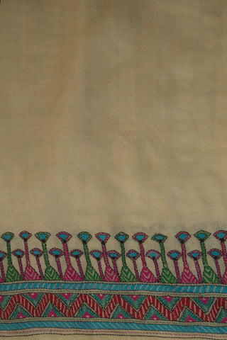 Off White with Multi Colour Kantha Border Tussar Silk Kurta Fabric