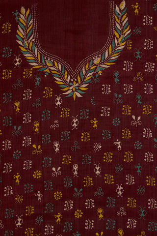 Maroon Tussar Silk Embroidered Kantha Kurtha Fabric