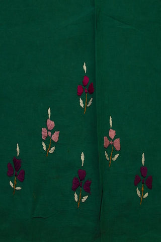 Green with Purple Roses Kantha Cotton Embroidered Kurta Fabric