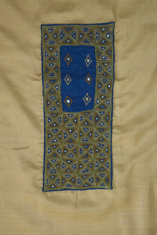 Beige Tussar Silk Fabric with Intricate Kutch Embroidered yoke