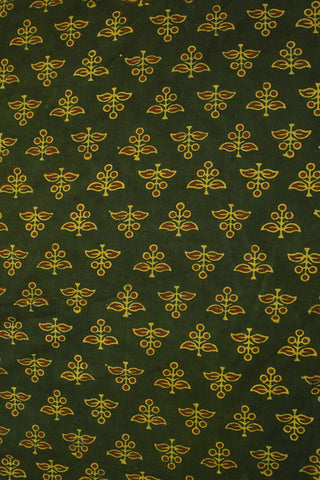 Green with Maroon Small Floral Block Printed Ajrak fabric