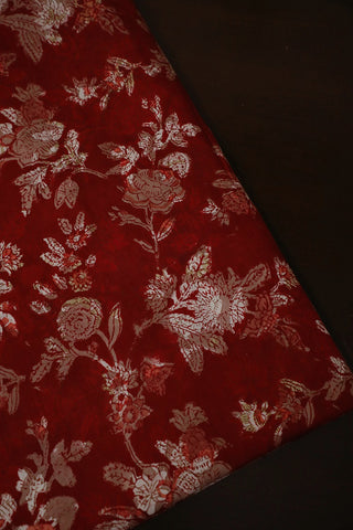 Reddish Maroon Floral Block Printed Sanganeri Cotton Fabric