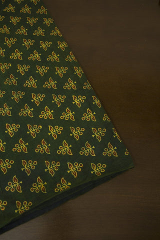 Green with Black Block Printed Ajrak fabric
