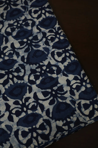 Off White with Indigo Blue Dabu Print Cotton Fabric