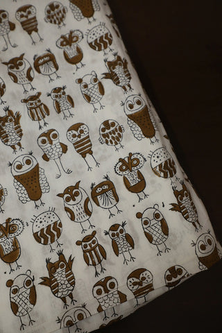 Owl in Off White Block Printed Sanganeri Cotton Fabric