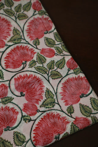 Off White with Pink Lotus Sanganeri Cotton Fabric