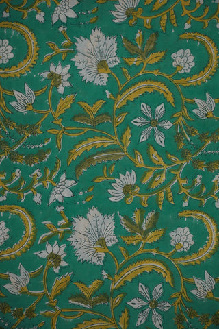 Bluish Green with Yellow Floral Sanganeri Cotton Fabric