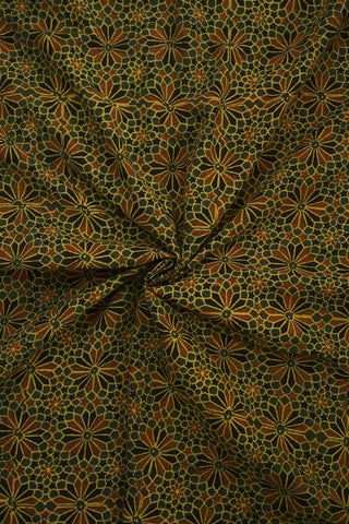 Flowers in Green Block Printed Ajrak fabric - 2m