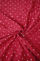 Pink with White Small Dots Bandhani Fabric
