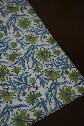 Off White with Blue Floral Block Printed Sanganeri Cotton Fabric