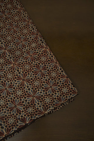 Flowers in Black -  Block Printed Ajrak fabric