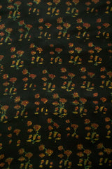 Black with Maroon Flower Modal Silk Fabric-2 m