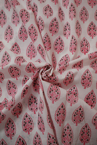 Pink Doted Leaves in White Sanganeri Cotton Fabric