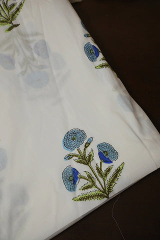 White with Blue Big Floral Sanganeri Cotton Fabric