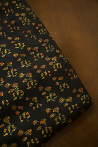 Black Small Floral Modal Silk Fabric