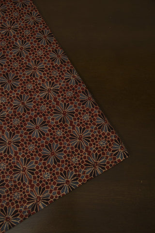 Flowers in Maroon Block Printed Ajrak fabric